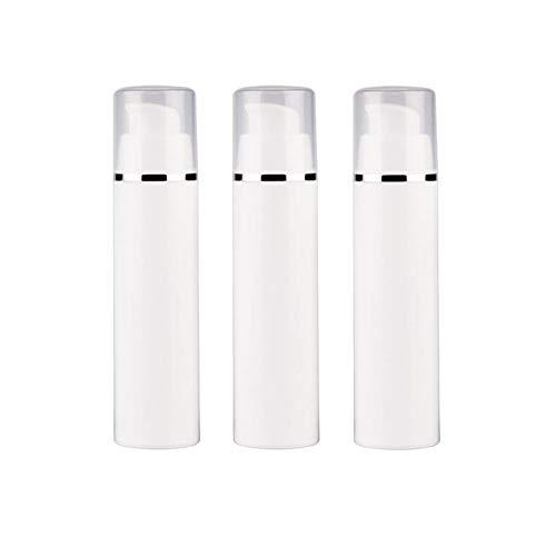 3Pcs Botella de vacío Blanca vacía Bomba sin Aire Contenedor de Botella de plástico Dispensador cosmético Botellas Loción Bomba de Crema Contenedor de plástico (50ml / 1.7oz)