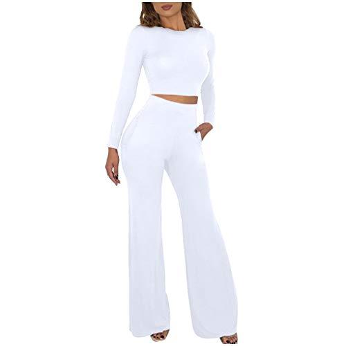 Allence 2 Stücke Frauen Einfarbig Slim Fit Top + Schlaghose Hosen weites Bein Hosen Pants zweiteiliges Set Bekleidungsset