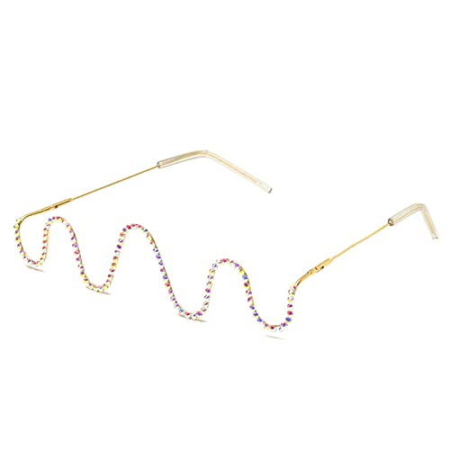 Bomoka Gafas de Sol, Marco de Gafas, sin Lentes, Gafas de Perlas con Tachuelas diamantadas, Cajas de Gafas de Regalo (Size : Gold Frame)