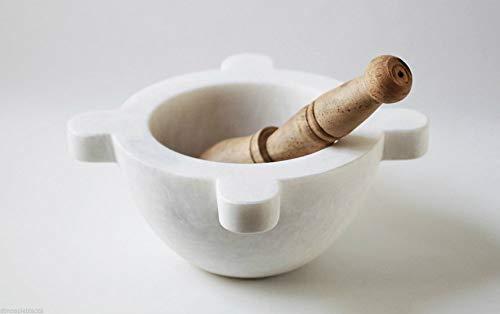 CBAM Mortier de Farmacia en marbre blanc, pilon en bois blanc Marble Mortar Pestle 10 cm