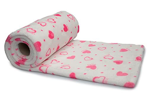 Minky - Peluche bilateral estampado de corazones rosas, 50 x 160 cm