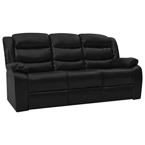vidaXL Liegesofa 3-Sitzer Sofa Couch Polstersofa Loungesofa Heimkino Cinema Ledersofa Relaxsofa Kinosofa Liegestuhl Schwarz Kunstleder