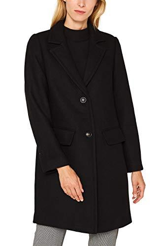 ESPRIT Damen 099Ee1G018S Mantel, Schwarz (Black 001), Large (Herstellergröße: L)