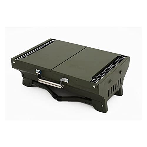 YNLRY Parrilla portátil de carbón para barbacoa Mini plegable y portátil, utensilios de cocina al aire libre, herramientas de cocina para fiestas, parrilla portátil (color verde militar)
