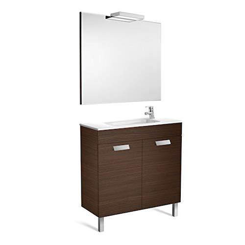 Roca – Pack de Base Meuble lavabo Compact avec portes miroir et applique murale) – Série Debba, couleur Wenge texturizado
