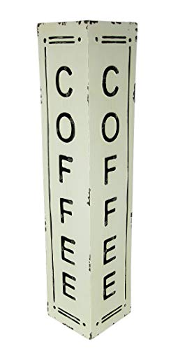 PD Home & Garden Black and White Pressed Tin 2 Sided Vertical Coffee Sign