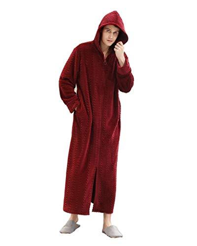 VERTAST Badjas voor Mannen Volledige lengte pyjama Winter Fleece Nachtjapon Badjas Kimono Slaapkamer Sauna pyjama met Pouches Rits en Hoed