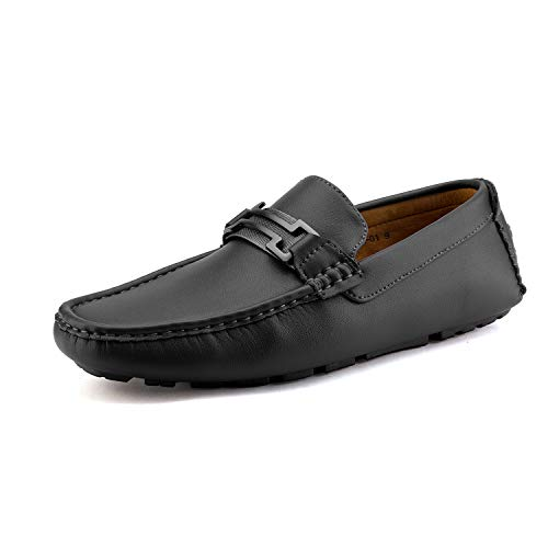 Bruno Marc Men's Hugh-01 Black Faux Leather Driving Penny Loafers Shoes Size 10.5 M US