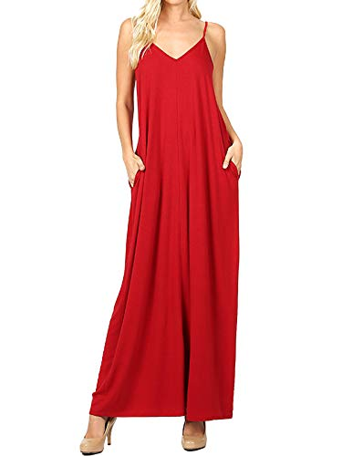 MixMatchy Women's Summer Casual Plain Flowy Pockets Loose Beach Cami Maxi Dress