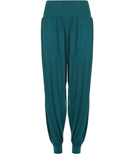 FAIRY TRENDZ LTD Damenhose Alibaba Haremshose mit Knöchelmanschette, volle Länge, Partyhose für Damen und Mädchen Gr. 42-44, blaugrün