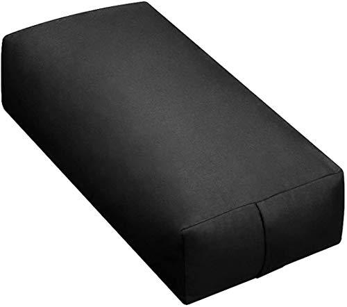 Sunshine Yoga - Extra Firm Large Rectangular Yoga Bolster - Improve Form, Flexibility and Strength - 100% Cotton - Washable (24 x 6 x 12 Inches) - Black
