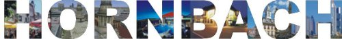 INDIGOS UG - Wandtattoo Wandsticker Wandaufkleber - Aufkleber farbige Wandschrift Städtename Städtename Hornbach mit Sehenswürdigkeiten 96 x 12 cm Länge