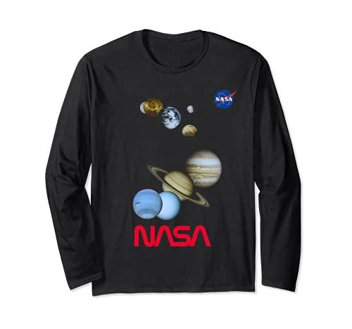 NASA: Mercury, Venus, Earth, Moon, Mars, Jupiter, Saturn Langarmshirt