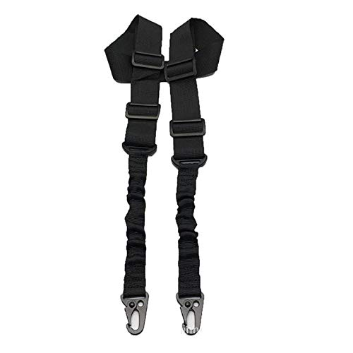 NO LOGO X-Baofu, Airsoft taktischer 2 Punkte Gewehr-Riemen-Bügel Hochleistungsgewehr-Gurt-Bügel Verstellbare Riemen-Bügel Bungee-System Jagdzubehör (Farbe : Schwarz)