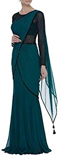 ROYAL COUTURE Diwali Collection Women's Georgette Frill Ruffle Saree (Turquoise Blue)