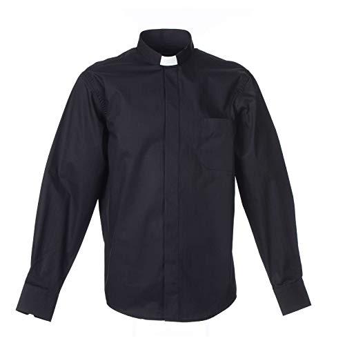 Collarhemd mit Langarm aus leicht zu b?gelnden Baumwoll-Polyester-Mischgewebe mit Fischgr?tenmuster in der Farbe Schwarz, 45 cm - 18 inc. - XXL