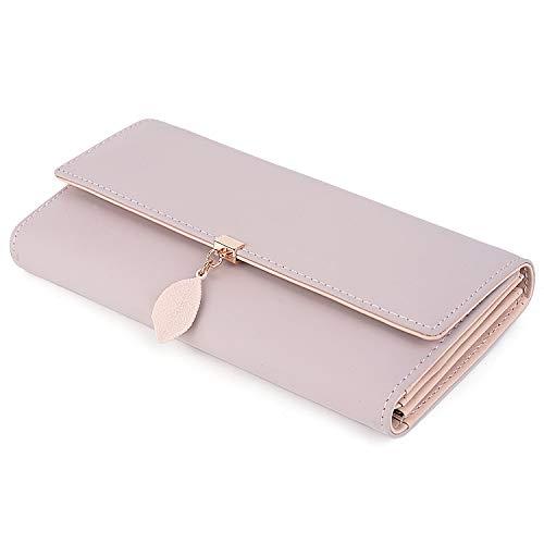 UTO Women PU Leather Wallet Large Capacity Leaf Pendant Card Phone Holder Checkbook Organizer Zipper Coin Purse Pink
