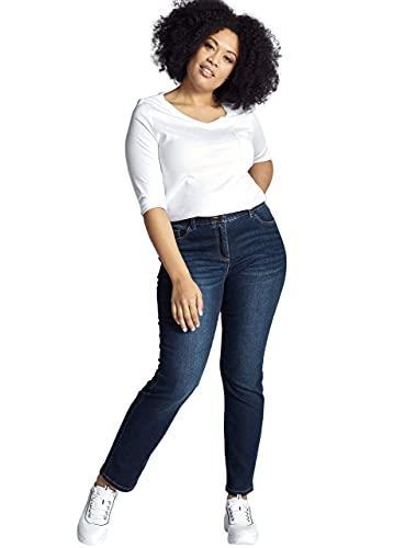 Ulla Popken Damen Sammy, Slim, Komfortbund, 5-Pocket Jeans, Blau (Bleached 92), (Herstellergröße:46)