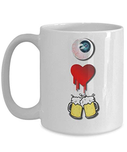 Cukudy I Love Beer - Taza de café con texto en inglés'I Love Beer'