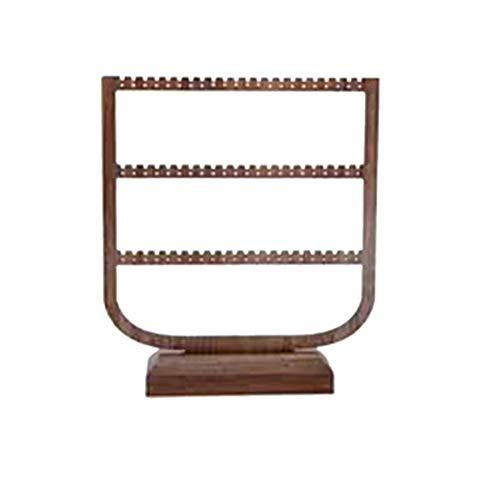 Tuneway Ohrclips Ohrclips Regal Display Ständer Home Storage Hängende Halskette Ständer Ohrringe Schwarz Walnuss Große Kapazität Drei Etagen