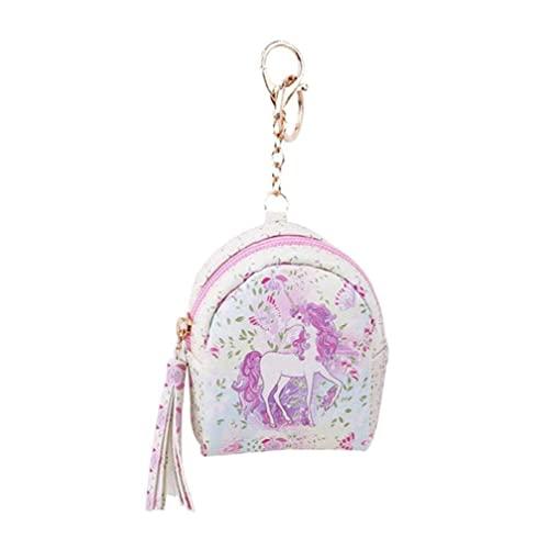 Bolso de la bolsa de cuero de la PU de la caricatura del Mini Monedero de la moneda con el llavero de la cartera de caballo lindo