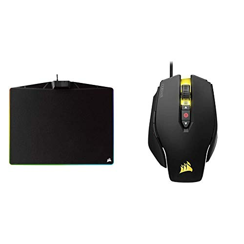 Corsair MM800C Polaris RGB Gaming Mauspad (Medium, RGB 15 Zonen Beleuchtung, Stoffoberfläche) schwarz & M65 PRO RGB Optisch Gaming Maus (RGB-LED-Hintergrundbeleuchtung, 12000 DPI) schwarz