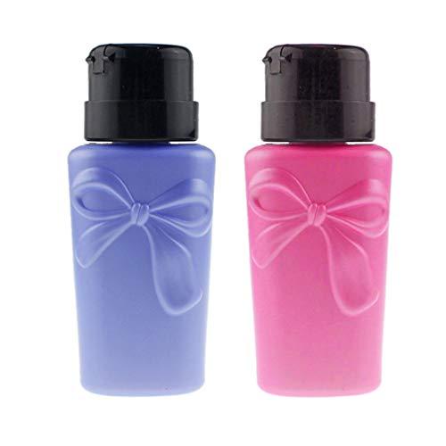 Lurrose 2pcs pousser la pompe distributeur bowknot forme bouteille étanche liquide de stockage cosmétique pour alcool dissolvant de vernis à ongles (couleur aléatoire)