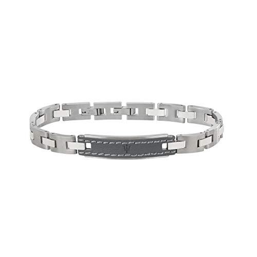 Herrenarmband, Kollektion Maserati Jewels, Länge 21,5 cm, aus Edelstahl und leder - JM218AMD02