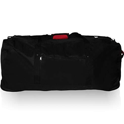 XXL Reisetasche/Trolleytasche Tasche mit 3 Rollen und Trolley Funktion (SCHWARZ)