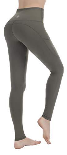 PUNZYMO Leggings Damen Yoga Sport Knöchellang Blickdichte Leggins Lang Yoga Tights Viele Größen, Olive, M