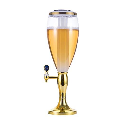 Fuente de Agua Torre Sub-máquina Cerveza Torreta Jugo de Vino Agua esférica Hombro Doble Luces XINYALAMP (Color : Gold, Size : 2L)
