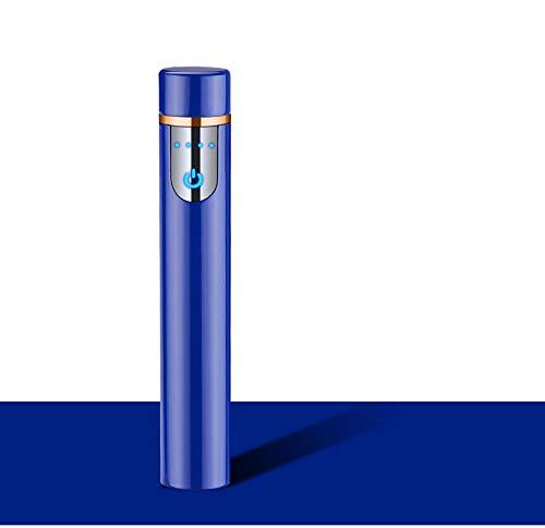 Mechero Eléctrico Mini, Encendedor de Cigarrillos Portátil, Recargable con USB, a Prueba de Viento, Sin Llama, Sensor de Huella Dactilar (Azul)
