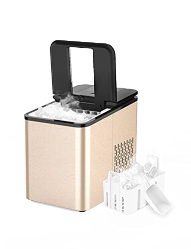 IKT Ice Maker, Ice Makers Countertop,Self-Cleaning,26.5 Lbs Per Day, 9 Ice Ready in 6 Minutes, with Ice Scoop and Bucket,Ice Maker Machine for Home Kitchen Office Bar,Rose Gold