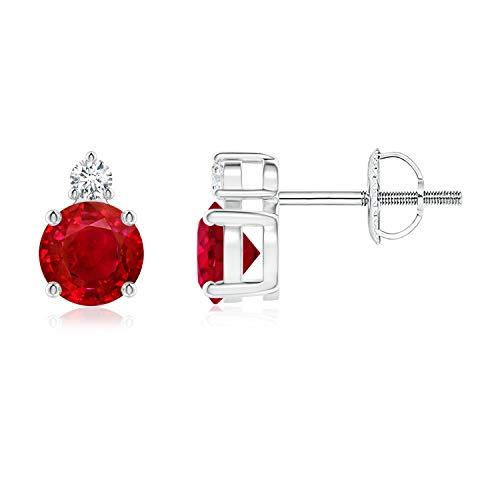 Negro viernes–Julio Birthstone–four-prong Set Natural Ruby cesta Stud Pendientes para mujeres con diamantes