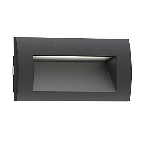 ledscom.de LED lámpara empotrable en la Pared Zibal para el Exterior, Negro, Blanca fría, 140x70mm