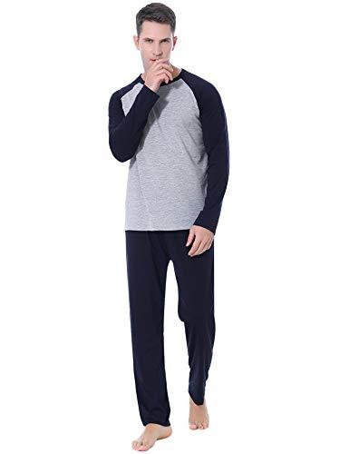 Aibrou Pijamas Hombre Invierno Manga Larga Conjuntos de Pijama para Hombre Algodón Ropa de Domir 2 Piezas Pantalones Largo