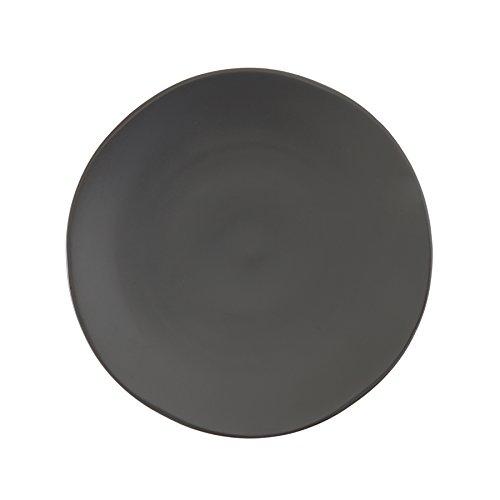 Fortessa Vitraluxe Dinnerware Heirloom Matte Finish Show Plate 12-Inch, Charcoal, Set of 4