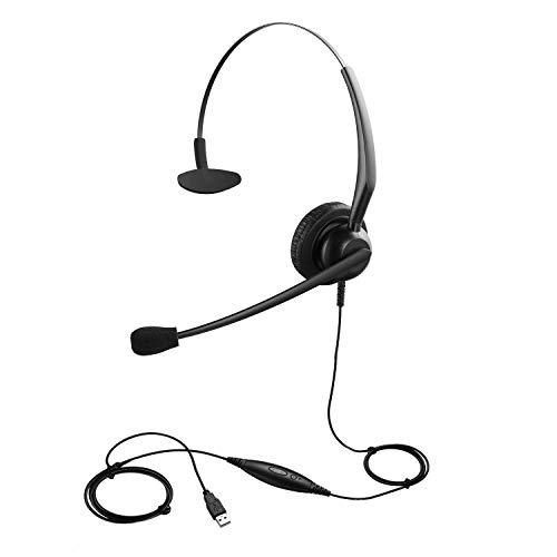 Zestaw słuchawkowy USB dla zespołów zoom Skype Online Spotkanie wideokonferencje telefoniczne z przyciskiem wyciszania, zestaw słuchawkowy PC do nauki wirtualnej online praca zdalna z domowego biura biura obsługi klienta