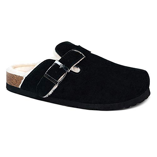 Cow Suede Leather Clogs,Boston Soft Footbed Clog,Cork Clogs Shoes for Women,Plush Lined,Antislip Sole Slippers Mules Black