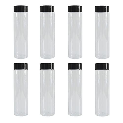 Transparente Botellas, 8Pcs Botellas de PET, Botellas de Agua del Vacías, Botellas Vacías de Plástico Transparente, Botellas para Beber Transparentes, para Almacenar Zumo, Leche, Bebidas Caseras