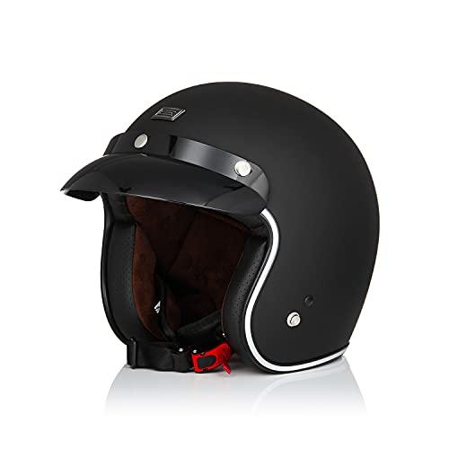 Origine Casco de motocicleta de cara abierta de media cara 3/4 Jet Casco de estilo retro con visera de sol apto para hombres y mujeres