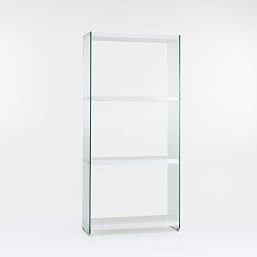 Design Twist Tehri Vetrinetta/Libreria, Bianco/Trasparente, 76x30xH 165 cm