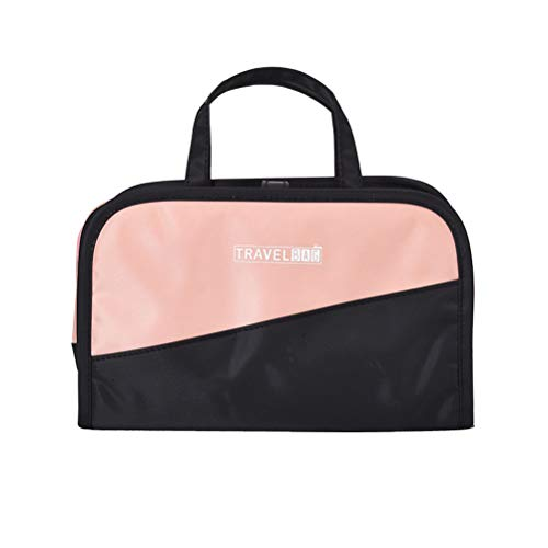 Cabilock 2 in 1 PVC Toiletry Bag Travel Makeup Pouch Sundry Bag Large Capacity Hanging Wash Portable Cosmetic Storage Bag, Black and Pink