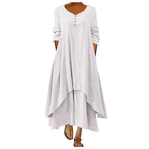 L9WEI Vestido Largo de Playa Vestidos de Algodón y Lino para Mujer Vestidos Casuales Sueltos Ocasionales Vestido de Verano para Mujer Vestido Elegante de Playa