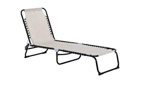 """Lounge Chair Set – Sturdy Steel Frame – Thick Textilene Cover – 200 lbs Weight Capacity – Foldable Design – Beige Colour – Easy Assemble – Great For Garden, Poolside, Patio – 77.5' x 22.75' x 32.5"""""""
