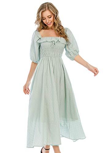 R.Vivimos Women Summer Half Sleeve Cotton Ruffled Vintage Elegant Backless A Line Flowy Long Dresses (X-Small, Green-1)