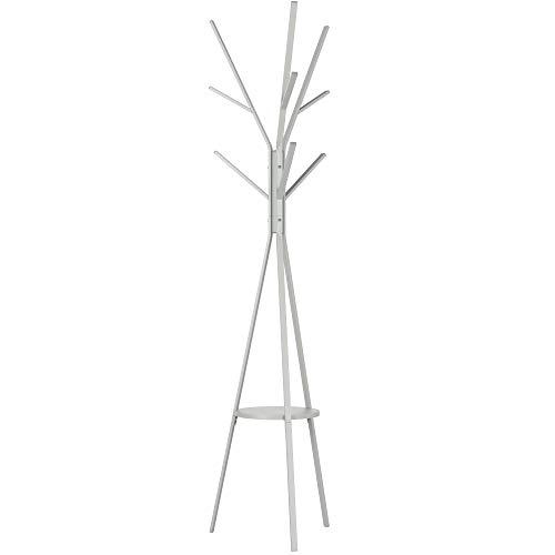 Homfa Attaccapanni da Terra Appendiabiti Albero Ferro Ingresso Appendiabiti Moderno con 1 Ripiano Stand Autoportante per Vestiti Cappelli Borse (Grigio)