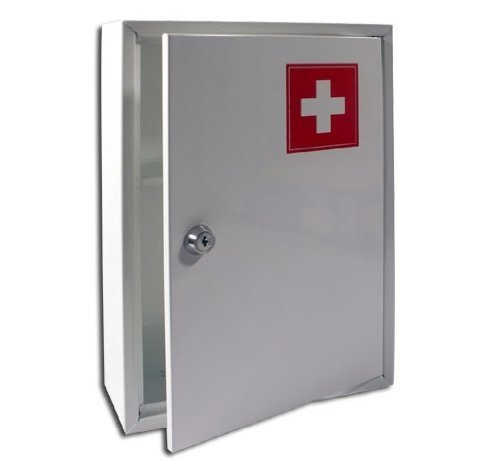 NEW MEDICAL CABINET FIRST AID WALL MOUNTED MEDICINE KIT TABLET BOX WHITE HOME
