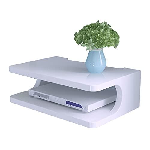 Caja de Almacenamiento WiFi Set-Top Box Rack Pared Rack de Pared Dormitorio enrutador Caja de Almacenamiento Antideslizante Duradero Resistente (Color : Blanco, Size : 30 * 20 * 10cm)