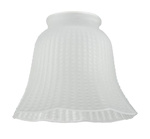 Westinghouse Paralume Frosted Ribbed Bell Shade, Bianco, vetro